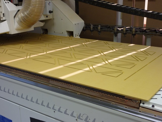 Valchromat being cut on our CNC machine.